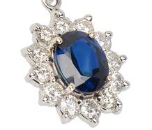 Star Burst - Sapphire Diamond Halo Pendant