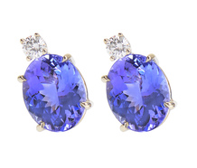 Tanzanite Diamond Stud Estate Earrings