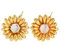 Golden Blossoms - Moonstone Earrings