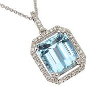 Step Up - Aquamarine Diamond Pendant Necklace