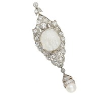 Baroque Sensation - Antique Diamond Pearl Pendant