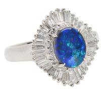 Black Opal Diamond Ballerina Estate Ring
