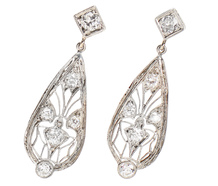 Lacy Filigree Teardrop Antique Earrings