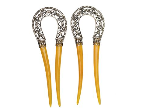 Pair of French Antique Paste Hair Pins