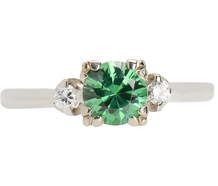 Green Garnet Diamond Engagement Ring
