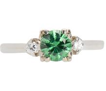 Green Garnet Diamond Engagement Ring
