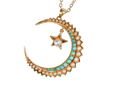 Victorian Turquoise Crescent Moon Star