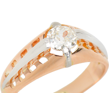 Platinum & Rose Gold Old Mine Diamond Ring