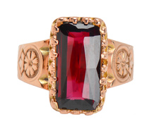 Victorian Shafer & Douglas Garnet Ring