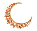 Estate Diamond Crescent Moon Brooch