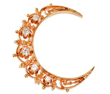 Estate Diamond Crescent Moon Brooch