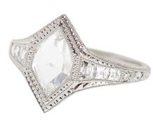 Fancy Rose Cut F Color Diamond Engagement Ring