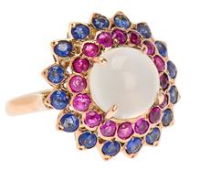 Estate Moonstone Ruby Sapphire Ring