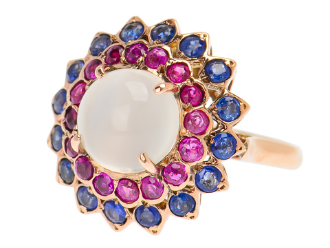 Estate Moonstone Ruby Sapphire Ring