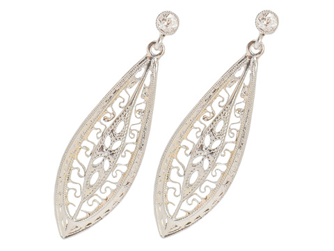 Filigree Diamond Set Dangle Earrings