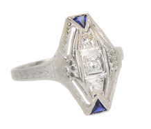 Art Deco Sublime - Diamond Sapphire Ring