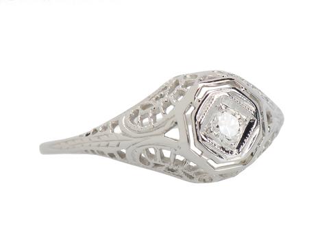 Vintage Solitaire Diamond Engagement Ring