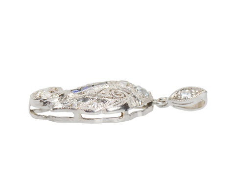 Art Deco Diamond Sapphire Pendant