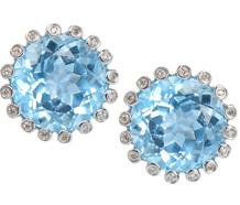 Caribbean Sea - Blue Topaz Diamond Earrings