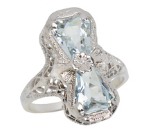 Aspiring - Art Deco Aquamarine Filigree Ring