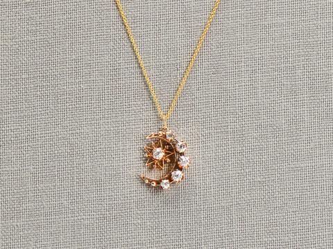 Victorian Crescent Moon Star Pendant Diamonds