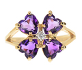 Hearts & Flowers - Amethyst Lucky Clover Ring