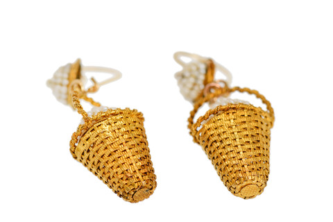 Egg-citing News - Victorian Handbasket Earrings