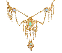 Art Nouveau Opal Fringe Necklace