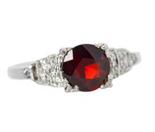 Garnet Diamond Vintage Engagement Ring