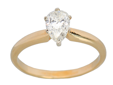 Pear Cut Solitaire Diamond Engagement Ring