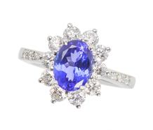 Divine - Tiffany Tanzanite Diamond Halo Ring