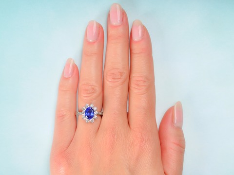 Divine - Tiffany Tanzanite Diamond Halo Ring