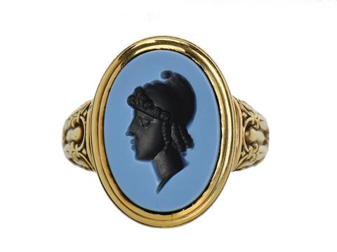 Art Deco Man's Nicolo Intaglio Ring