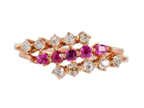 Victorian Sweet - Diamond Ruby Ring