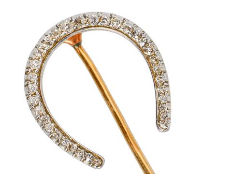 Edwardian Diamond Horseshoe Stickpin Brooch