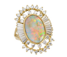 Fireworks - Flashing Opal & Diamond Ring