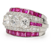 Sensational Art Deco Ruby Diamond Ring