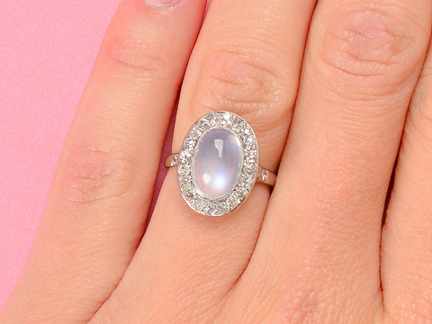 Northern Lights - Blue Moonstone Diamond Ring