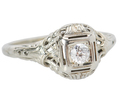 Ornate Art Deco Solitaire Engagement Ring