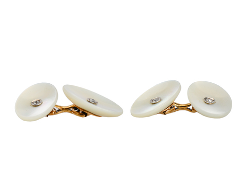 Art Deco Diamond Mother of Pearl Cufflinks