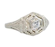 Vintage Old European Filigree Engagement Ring