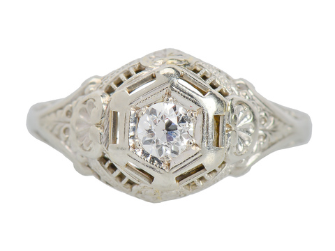 Vintage Old European Filigree Engagement Ring