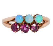 Victorian Opal & Garnet Ring