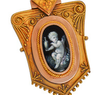 Antique Victorian Cherub Locket Pendant