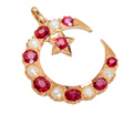 Edwardian Crescent Moon Star Ruby Pendant
