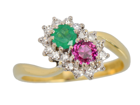 Moi et Toi Ruby Emerald Diamond Ring