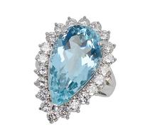 Elegant Essence - Aquamarine Halo Ring