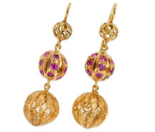Edwardian Pleasure - Ruby Dangle Earrings