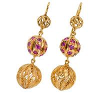 Edwardian Pleasure - Ruby Dangle Earrings
