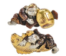 Antique Shakudo Japanese Cufflinks